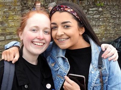Ellen Donohoe and Alanah Caschera on their way to perform in Dunlavin 2019