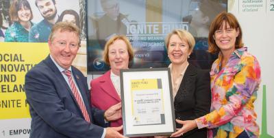 Sister Bernadette and Denise Ní Dhuibhir , administrator receiving the Social Innovation Award