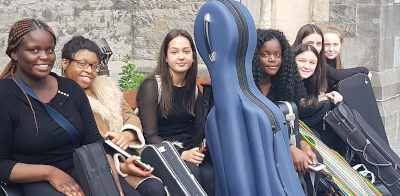 some of St AGnes' Teenage Chamber Orchestra relaxing before the concert in Dunlavin