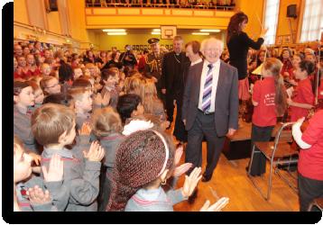 President Higgine visits St Agnes' Primary
